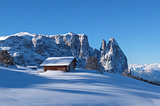 Typical wooden chalet in the Dolomites