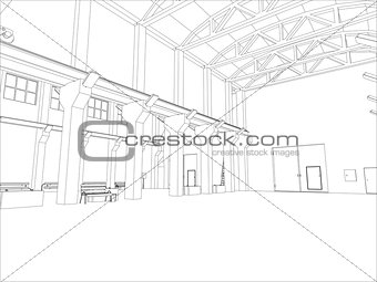 Factory environment. Wire-frame