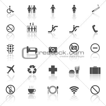 Plublic icons with reflect on white background
