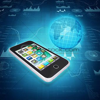 Smartphone, globe and graphics