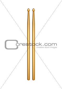 A pair of wooden drumsticks