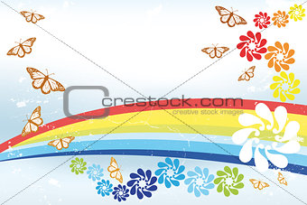 Abstract spring Background with rainbow, butterflies and fantasy