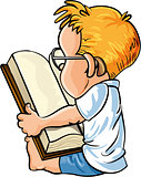 Cartoon little boy reading a big book