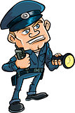 Cartoon security guard with flashlight