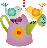 Love Birds on Watering Can