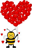 Cute Bee with Heart Shaped Balloons