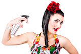Haircare. Brunette pinup woman using hair product