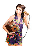 Retro receptionist on vintage telephone. Call us