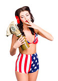 American military pin up girl holding gasmask