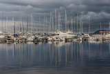 Beautiful illustration with yachts in the bay