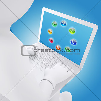 3d white man sitting with a laptop