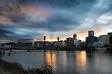 Sunset Over Portland Willamette River