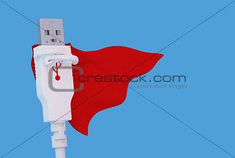Posing super hero USB connector