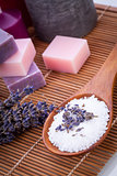 handmade lavender soap and bath salt wellness spa