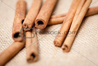 aromatic cinnamon sticks detail macro closeup