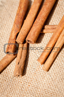 aromatic cinnamon sticks detail macro closeup