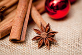 christmas decoration cinnamon anise baubles in red
