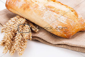 fresh baked white ciabatta bread baguette objects