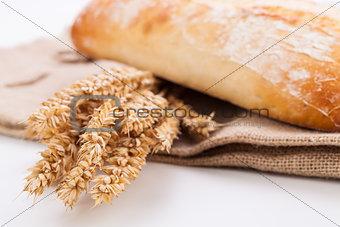 fresh baked white ciabatta bread baguette objects