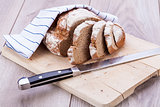homemade fresh baked bread and knife