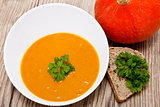 fresh tasty homemade pumpkin soup