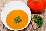 fresh tasty homemade pumpkin soup