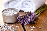 fresh lavender white towel and bath salt on wooden background