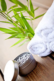 wellness and spa beauty treatment objects on wooden background
