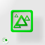 eco badge, green triangle