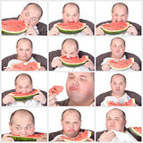 Collage portrait obese man eating a large slice of fresh juicy w