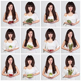 Collage young beautiful woman with the fresh vegetables