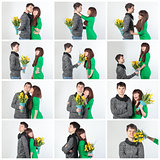 Collage happy young couple with bouquet flowers