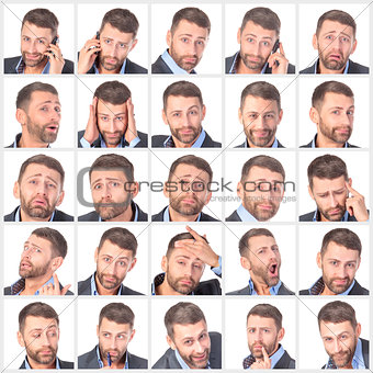 Collage portrait unshaven handsome man with difference emotions