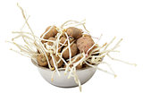 sprouting potatoes on white background
