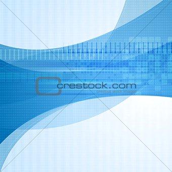 Wavy blue tech vector design