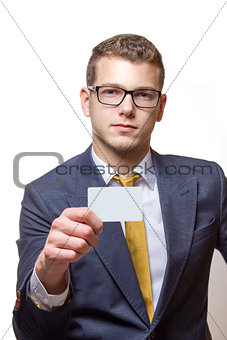 Young businessman presenting his Bussiness card