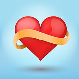 Background symbol beautiful red heart and yellow ribbon.