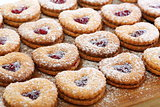 Linzer cookies with cherry jam.