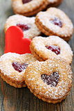 Linzer cookies and red heart.