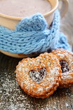 Cocoa and Linzer Cookie .
