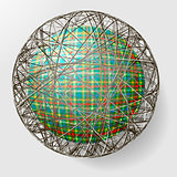 ball with the texture of fabric and within the grid
