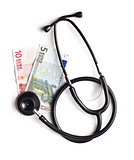 stethoscope and euro currency