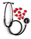 stethoscope and red hearts