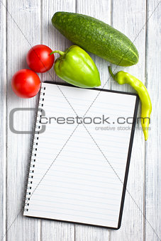 blank recipe book with vegetable