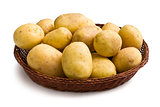 raw potatoes in basket