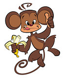 Cartoon happy monkey eating banana