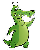 Cartoon crocodile presents