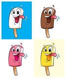Happy cartoon character ice creams