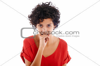envious hispanic woman biting finger
