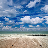 Sea, sky, white clouds